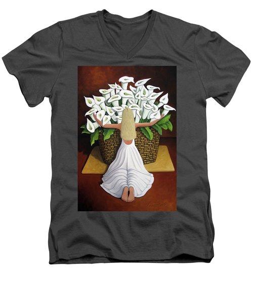 Baileyrae Lilies Men's V-Neck T-Shirt