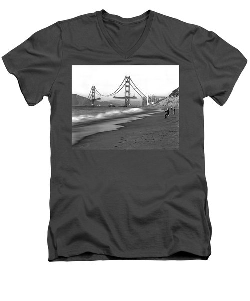 Baker Beach In Sf Men's V-Neck T-Shirt