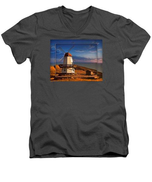 Baker City Windmill_1a Men's V-Neck T-Shirt