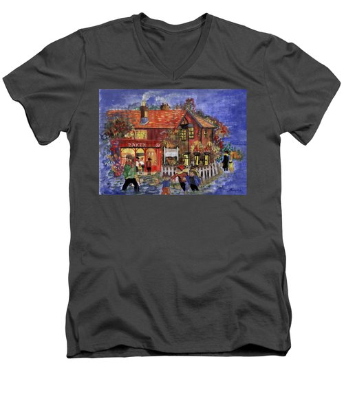 Bakers Inn Winter Holiday Landscape Men's V-Neck T-Shirt
