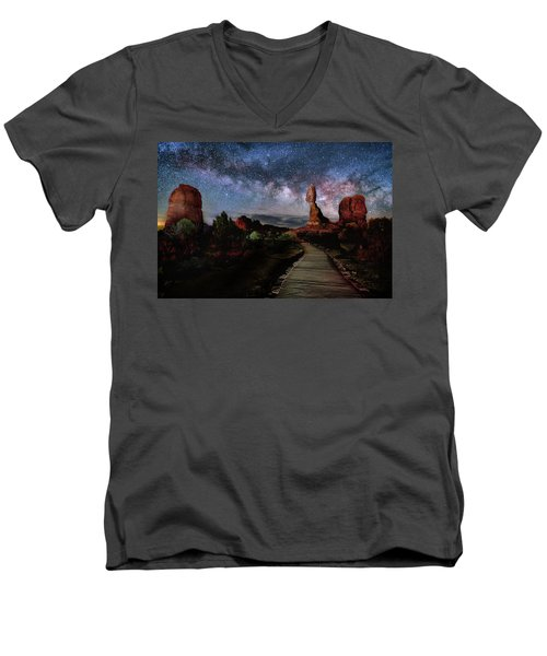 Balanced Rock Milky Way Men's V-Neck T-Shirt