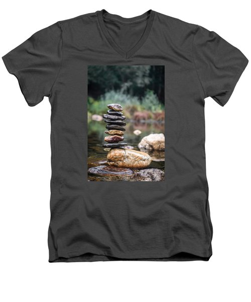 Balancing Zen Stones In Countryside River I Men's V-Neck T-Shirt by Marco Oliveira