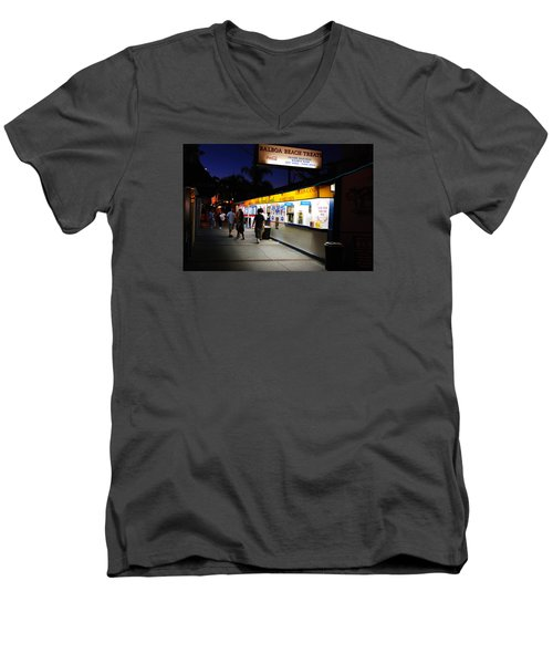 Balboa Pier Nghts Men's V-Neck T-Shirt by James Kirkikis