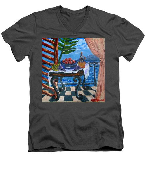 Balcony By The Mediterranean Sea Men's V-Neck T-Shirt