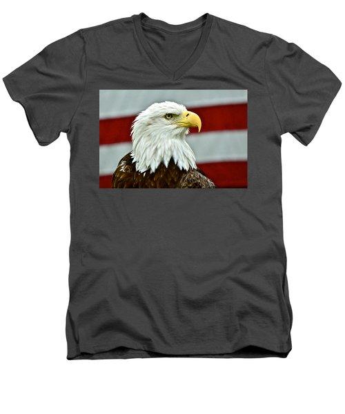 Bald Eagle And Old Glory Men's V-Neck T-Shirt