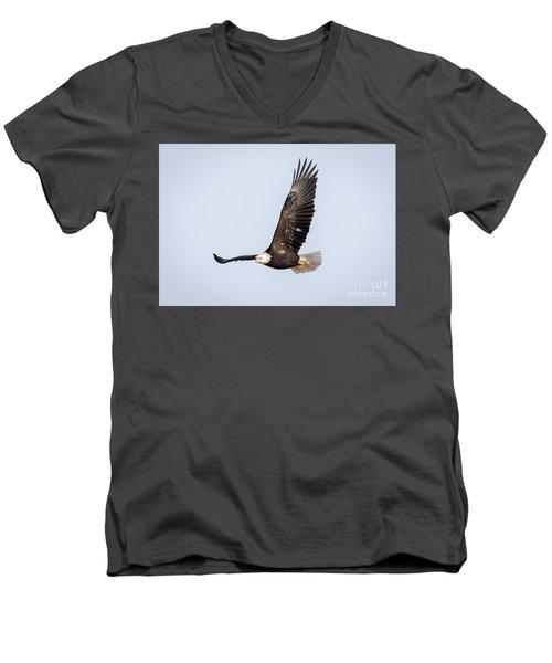Bald Eagle Flying Over Horicon Marsh Men's V-Neck T-Shirt