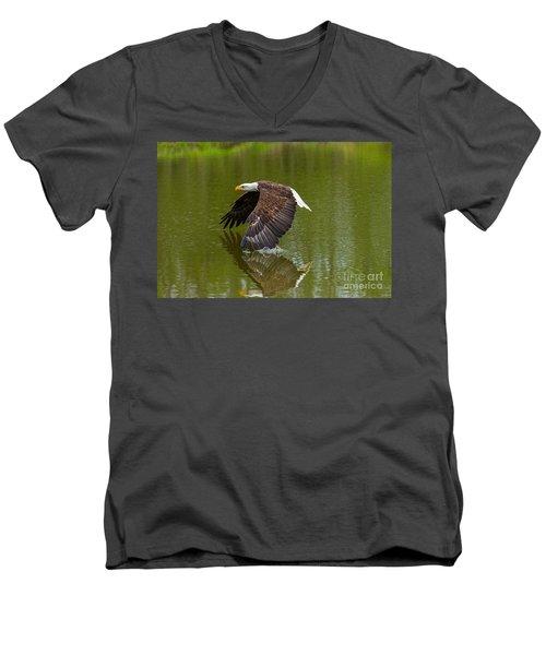 Bald Eagle In Low Flight Over A Lake Men's V-Neck T-Shirt
