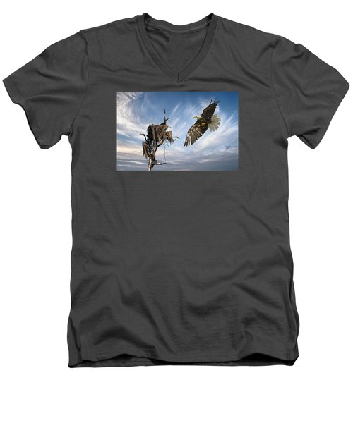 Men's V-Neck T-Shirt featuring the photograph Bald Eagle Landing On Old Nest by Brian Tarr
