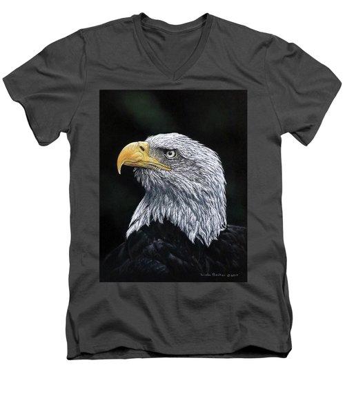 Bald Eagle Men's V-Neck T-Shirt by Linda Becker