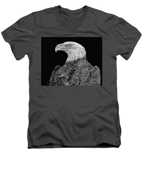 Bald Eagle Scratchboard Men's V-Neck T-Shirt by Shevin Childers
