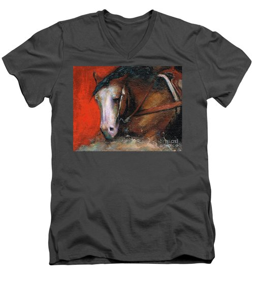 Men's V-Neck T-Shirt featuring the painting Bald Face by Frances Marino