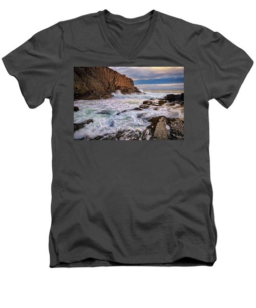 Men's V-Neck T-Shirt featuring the photograph Bald Head Cliff by Rick Berk