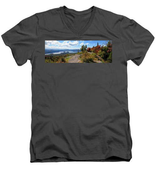 Bald Mountain Autumn Panorama Men's V-Neck T-Shirt
