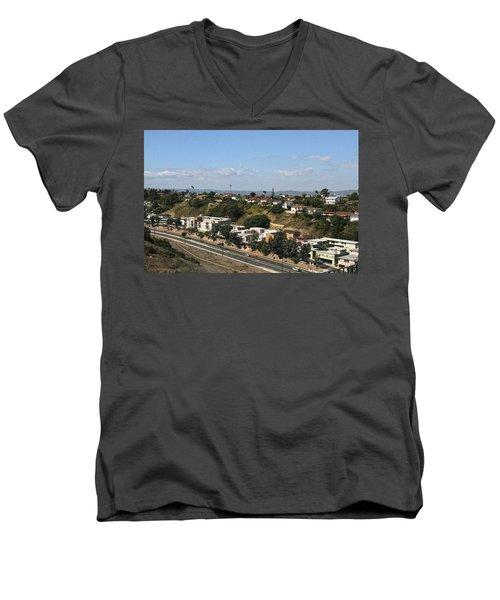 Baldwin Hills Over Stocker Street  Men's V-Neck T-Shirt
