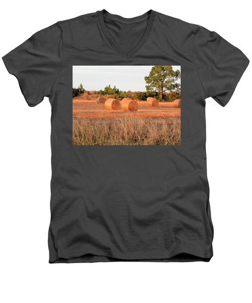 Men's V-Neck T-Shirt featuring the photograph Bales by Rosalie Scanlon