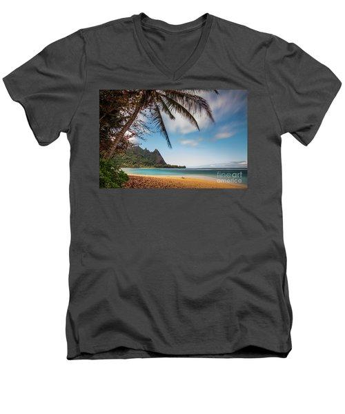 Bali Hai Tunnels Beach Haena Kauai Hawaii Men's V-Neck T-Shirt