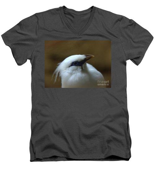 Men's V-Neck T-Shirt featuring the photograph Bali Mynah by Lisa L Silva