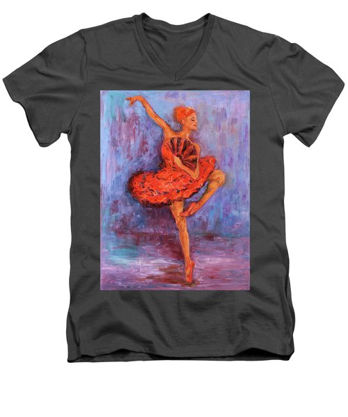Men's V-Neck T-Shirt featuring the painting Ballerina Dancing With A Fan by Xueling Zou