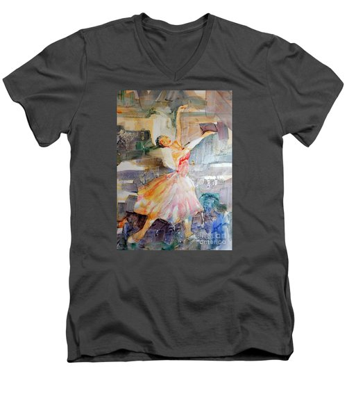 Men's V-Neck T-Shirt featuring the painting Ballerina In Motion by Mary Haley-Rocks