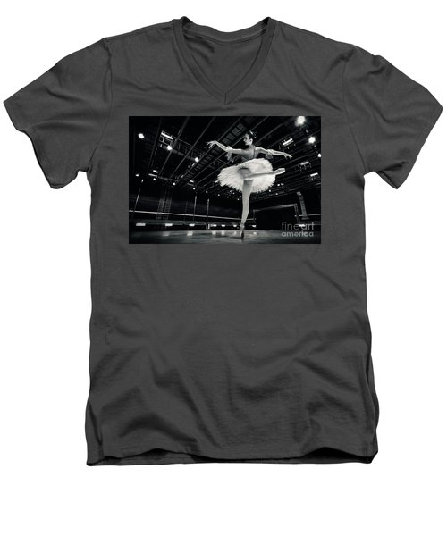 Men's V-Neck T-Shirt featuring the photograph Ballerina In The White Tutu by Dimitar Hristov