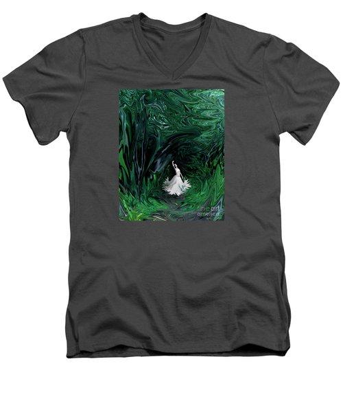 Men's V-Neck T-Shirt featuring the photograph Ballerina In Wonderland by Rebecca Margraf