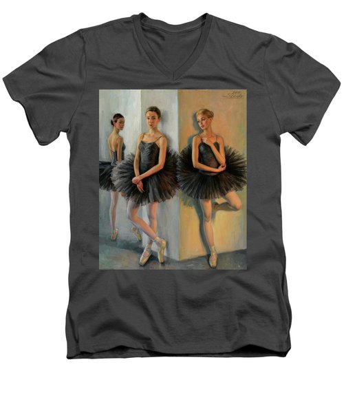 Ballerinas In Black Tutu Men's V-Neck T-Shirt