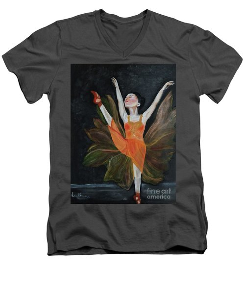 Men's V-Neck T-Shirt featuring the painting Ballet Dancer 1 by Brindha Naveen