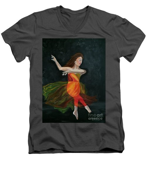 Men's V-Neck T-Shirt featuring the painting Ballet Dancer 2 by Brindha Naveen