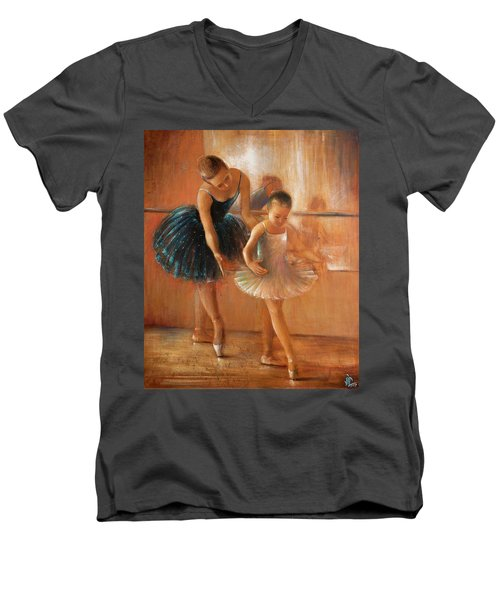 ballet lesson-painting on leather by Vali Irina Ciobanu  Men's V-Neck T-Shirt