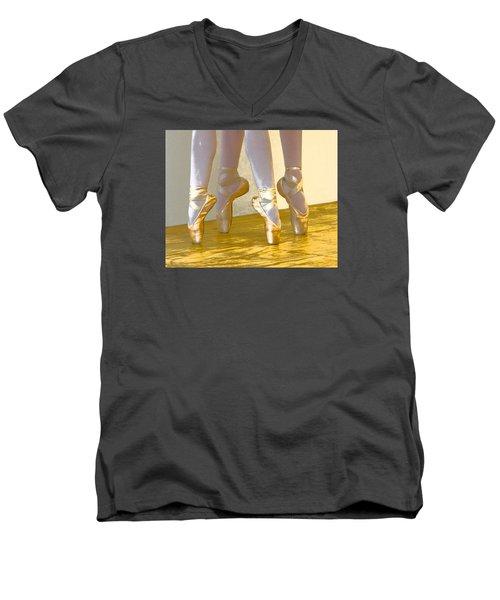 Ballet Second Position In Gold Men's V-Neck T-Shirt