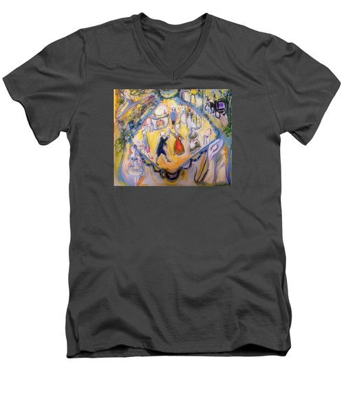 Balletic Kaleidoscope  Men's V-Neck T-Shirt by Judith Desrosiers