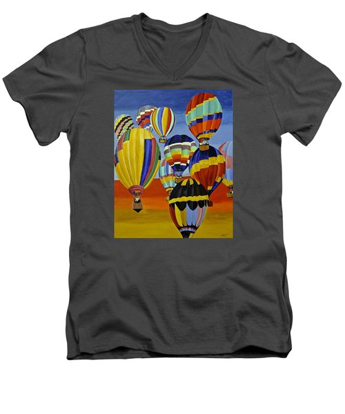 Balloon Expedition Men's V-Neck T-Shirt by Donna Blossom