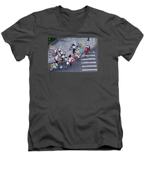 Men's V-Neck T-Shirt featuring the photograph Balloons And Bikes by Cameron Wood