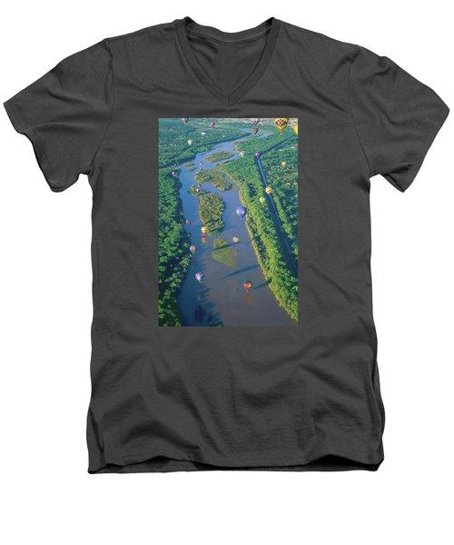 Balloons Over The Rio Grande Men's V-Neck T-Shirt