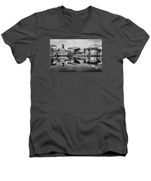 Baltimore In Black And White Men's V-Neck T-Shirt by Wayne King