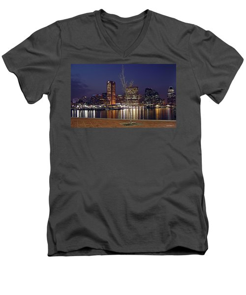 Men's V-Neck T-Shirt featuring the photograph Baltimore Reflections by Brian Wallace