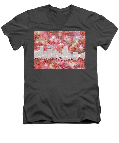 Men's V-Neck T-Shirt featuring the painting Baltimore Skyline Watercolor 13 by Bekim Art