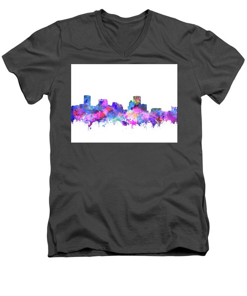 Men's V-Neck T-Shirt featuring the painting Baltimore Skyline Watercolor 4 by Bekim Art
