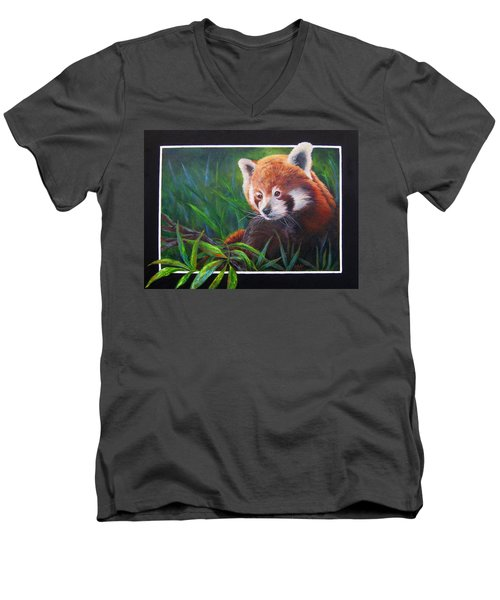 Bamboo Basking--red Panda Men's V-Neck T-Shirt by Mary McCullah