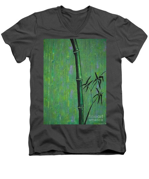 Men's V-Neck T-Shirt featuring the painting Bamboo by Jacqueline Athmann