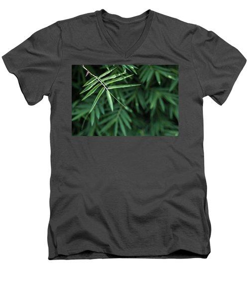 Bamboo Leaves Background Men's V-Neck T-Shirt