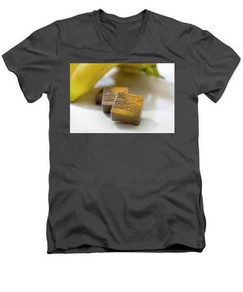 Banana Chocolate Men's V-Neck T-Shirt by Sabine Edrissi