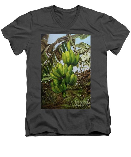 Men's V-Neck T-Shirt featuring the painting Banana Tree by Chonkhet Phanwichien