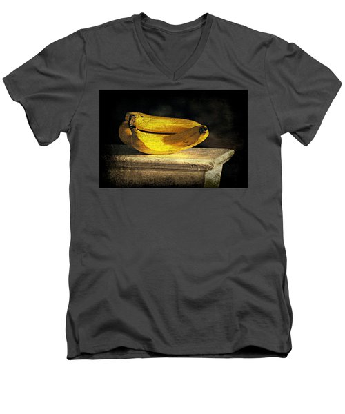 Men's V-Neck T-Shirt featuring the photograph Bananas Pedestal by Diana Angstadt