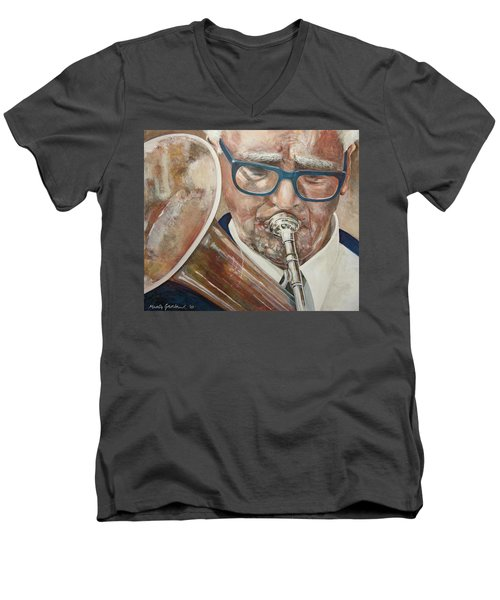 Band Man Men's V-Neck T-Shirt by Marty Garland
