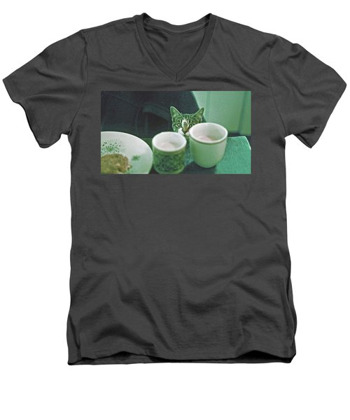 Men's V-Neck T-Shirt featuring the photograph Bandit by Laurie Stewart