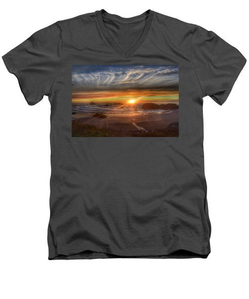 Men's V-Neck T-Shirt featuring the photograph Bandon Sunset by Bonnie Bruno