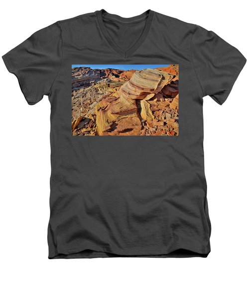 Bands Of Colorful Sandstone In Valley Of Fire Men's V-Neck T-Shirt