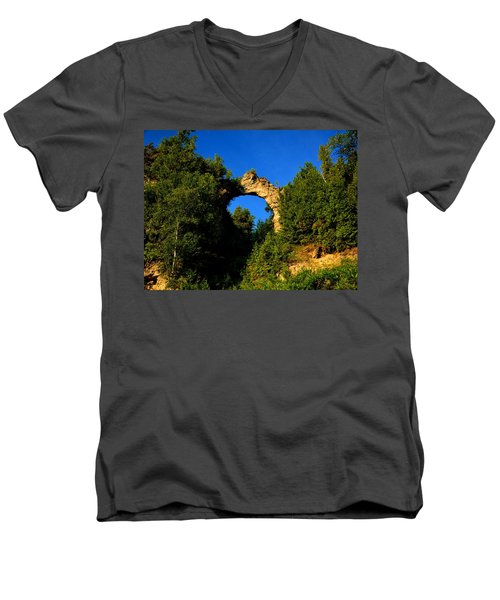 Beneath Arch Rock Men's V-Neck T-Shirt by Keith Stokes