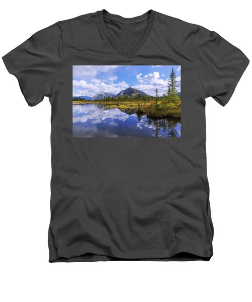 Men's V-Neck T-Shirt featuring the photograph Banff Reflection by Chad Dutson